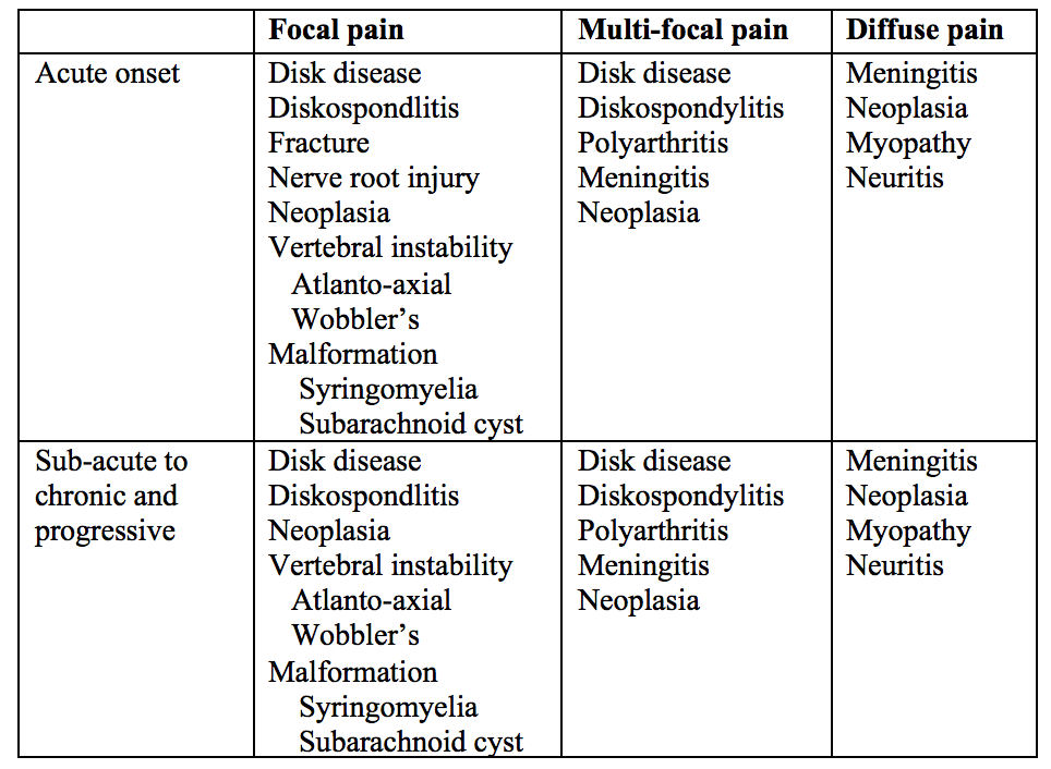 Table 1. Differential diagnoses of spinal pain by onset and location