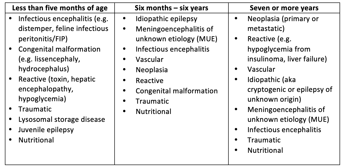 Example of a differential list for seizure etiology according to age group.